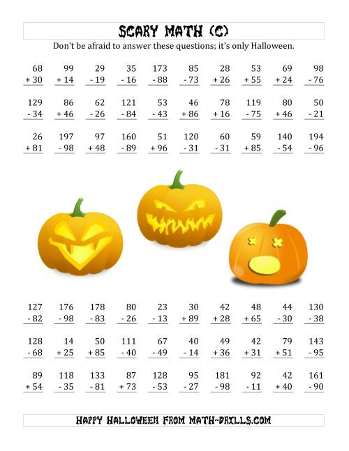 The Scary Addition and Subtraction with Double-Digit Numbers (C) Math Worksheet