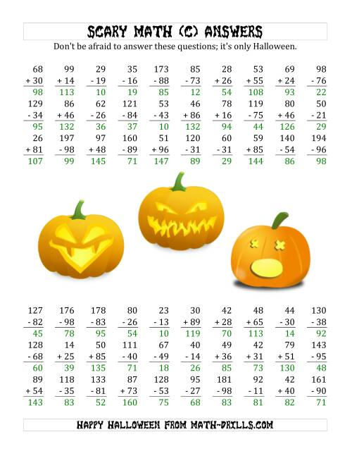 The Scary Addition and Subtraction with Double-Digit Numbers (C) Math Worksheet Page 2