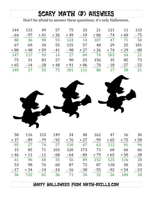 The Scary Addition and Subtraction with Double-Digit Numbers (D) Math Worksheet Page 2