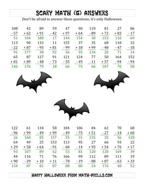The Scary Addition and Subtraction with Double-Digit Numbers (G) Math Worksheet Page 2