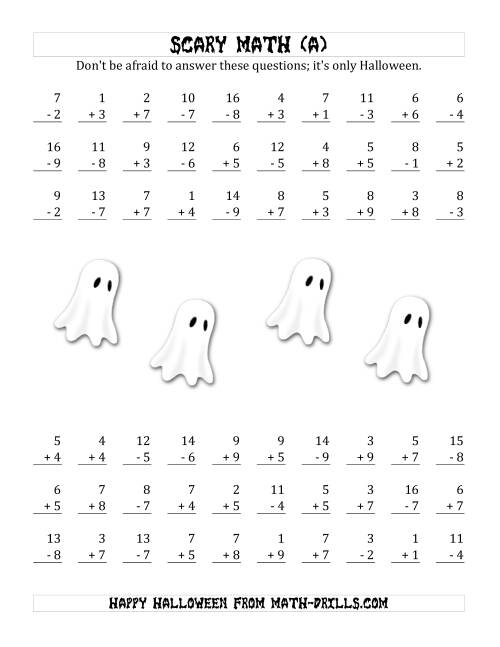 The Scary Addition and Subtraction with Single-Digit Numbers (A) Math Worksheet