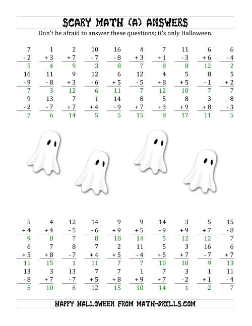 The Scary Addition and Subtraction with Single-Digit Numbers (A) Math Worksheet Page 2