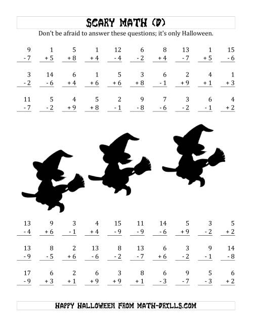 The Scary Addition and Subtraction with Single-Digit Numbers (D) Math Worksheet