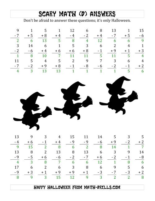 The Scary Addition and Subtraction with Single-Digit Numbers (D) Math Worksheet Page 2