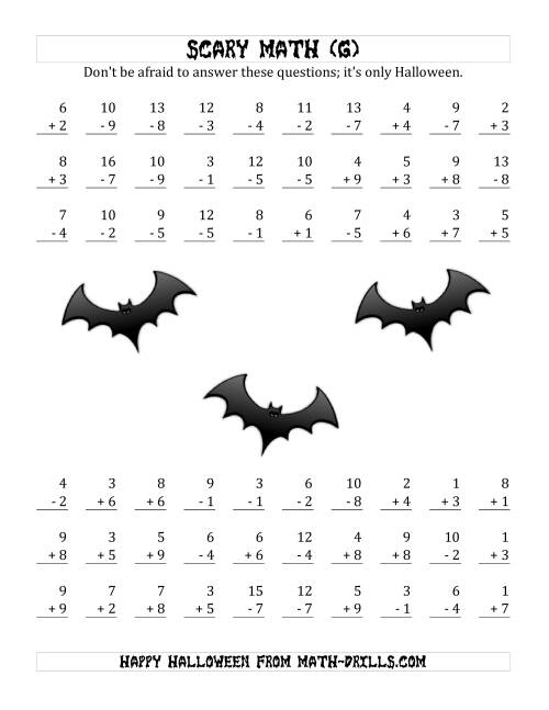 The Scary Addition and Subtraction with Single-Digit Numbers (G) Math Worksheet