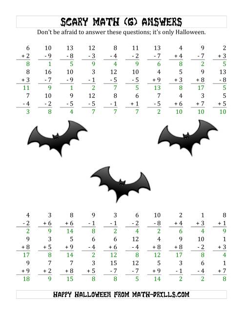 The Scary Addition and Subtraction with Single-Digit Numbers (G) Math Worksheet Page 2
