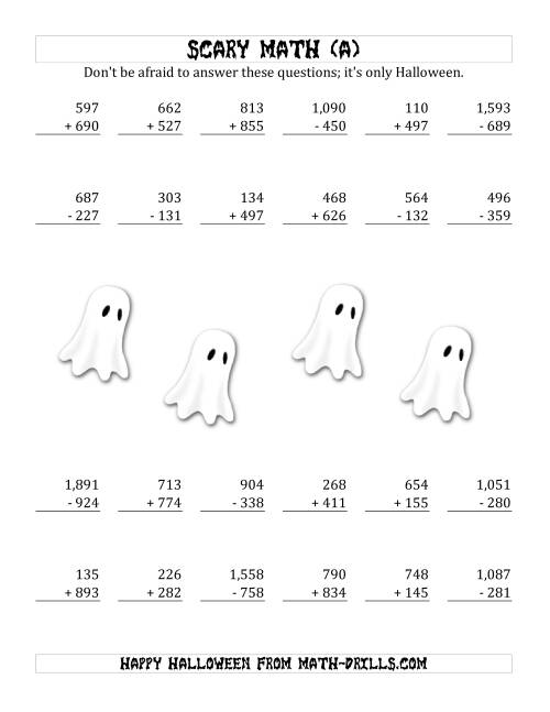 math worksheet : scary addition and subtraction with triple digit numbers a  : Math Halloween Worksheets