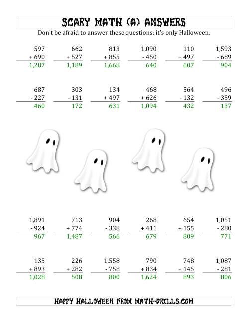 The Scary Addition and Subtraction with Triple-Digit Numbers (A) Math Worksheet Page 2