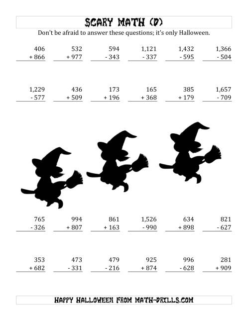 The Scary Addition and Subtraction with Triple-Digit Numbers (D) Math Worksheet