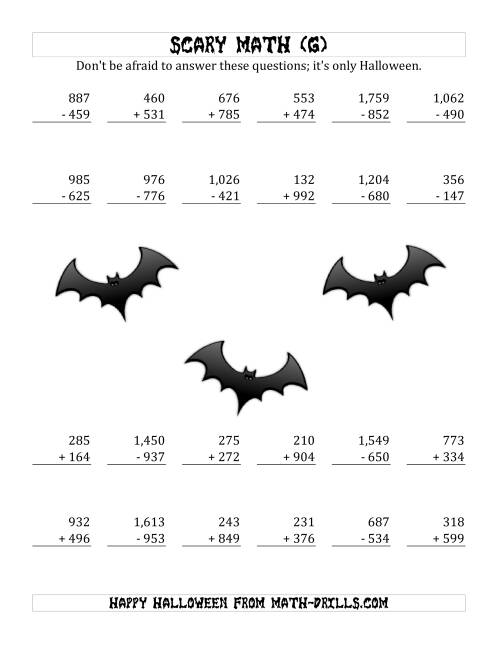 The Scary Addition and Subtraction with Triple-Digit Numbers (G) Math Worksheet