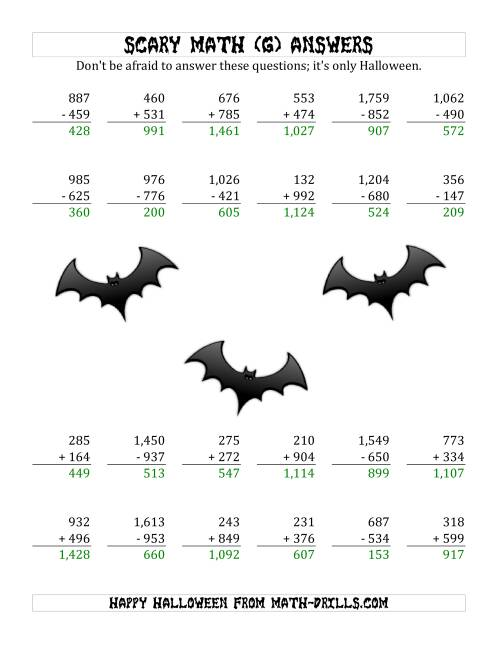 The Scary Addition and Subtraction with Triple-Digit Numbers (G) Math Worksheet Page 2