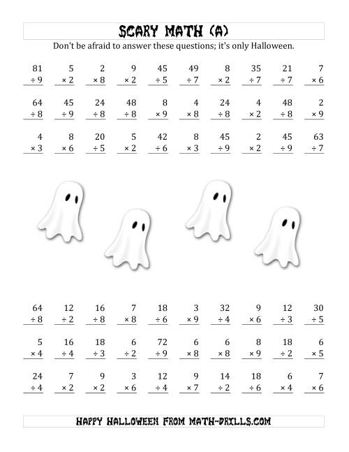 The Scary Multiplication and Division (1-Digit) (A) Math Worksheet