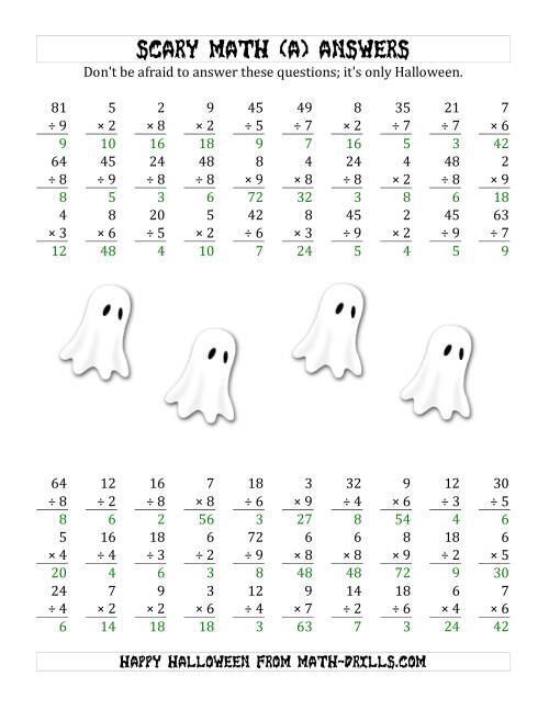 The Scary Multiplication and Division (1-Digit) (A) Math Worksheet Page 2
