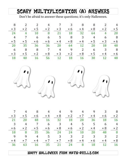 The Scary Multiplication (1-Digit by 1-Digit) (A) Math Worksheet Page 2
