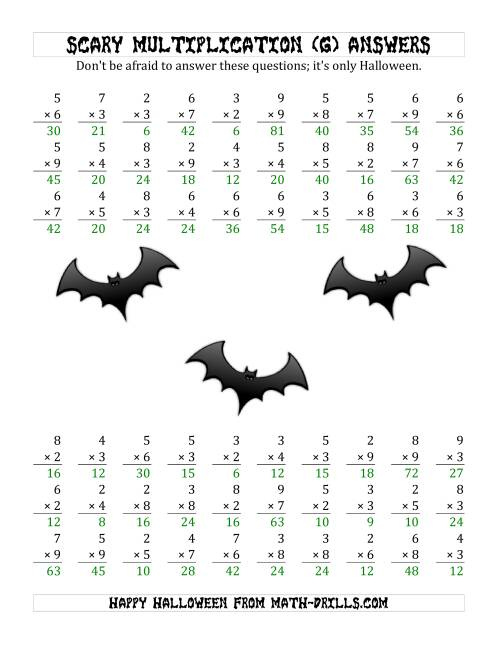 The Scary Multiplication (1-Digit by 1-Digit) (G) Math Worksheet Page 2
