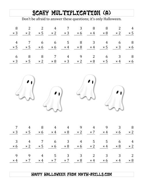 The Scary Multiplication (1-Digit by 1-Digit) (All) Math Worksheet