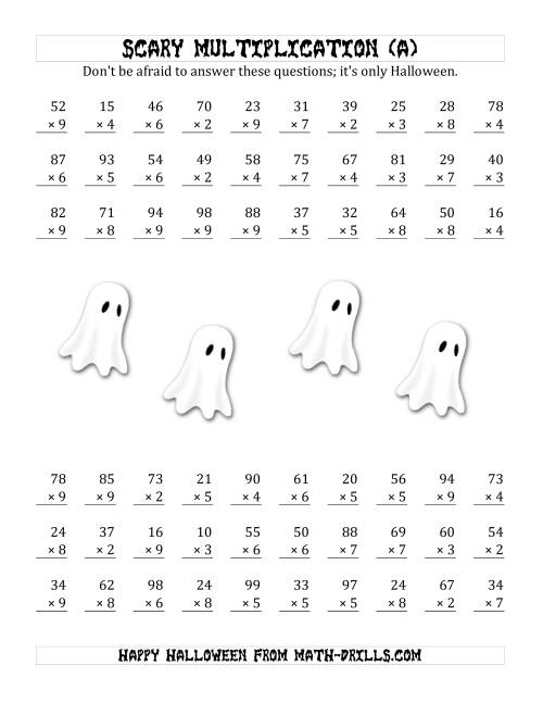 The Scary Multiplication (2-Digit by 1-Digit) (A) Math Worksheet