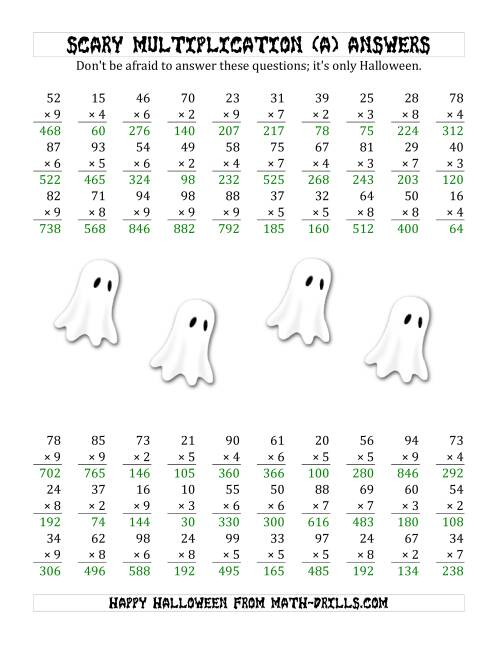 The Scary Multiplication (2-Digit by 1-Digit) (A) Math Worksheet Page 2