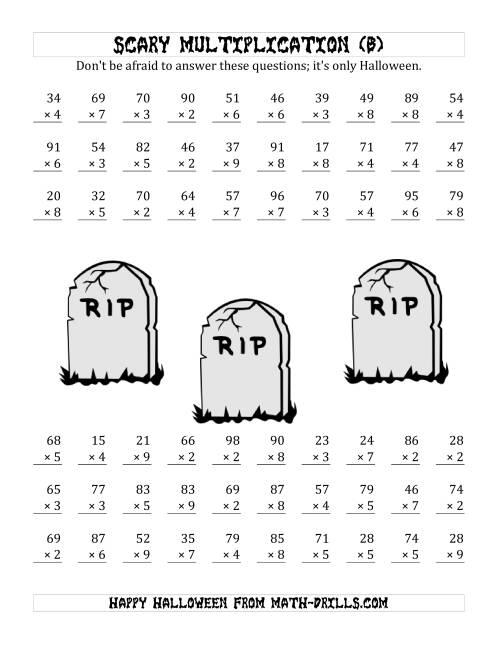 The Scary Multiplication (2-Digit by 1-Digit) (B) Math Worksheet