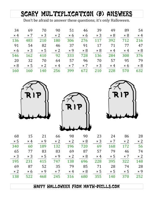 The Scary Multiplication (2-Digit by 1-Digit) (B) Math Worksheet Page 2