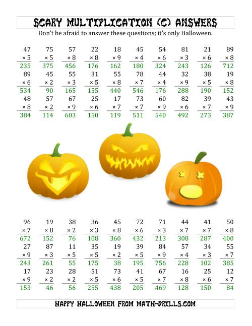 The Scary Multiplication (2-Digit by 1-Digit) (C) Math Worksheet Page 2
