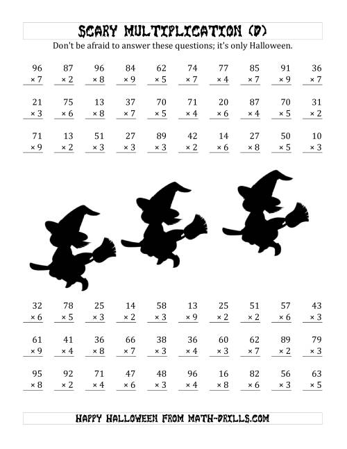 The Scary Multiplication (2-Digit by 1-Digit) (D) Math Worksheet