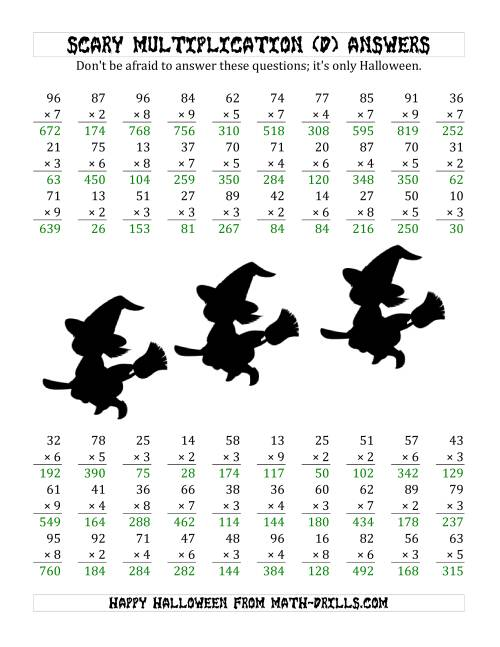 The Scary Multiplication (2-Digit by 1-Digit) (D) Math Worksheet Page 2