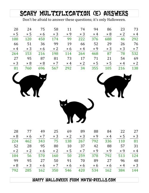 The Scary Multiplication (2-Digit by 1-Digit) (E) Math Worksheet Page 2