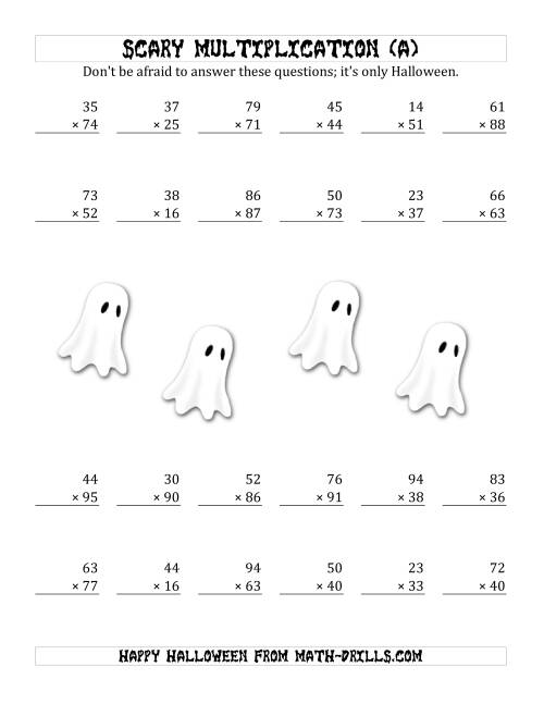The Scary Multiplication (2-Digit by 2-Digit) (A) Math Worksheet