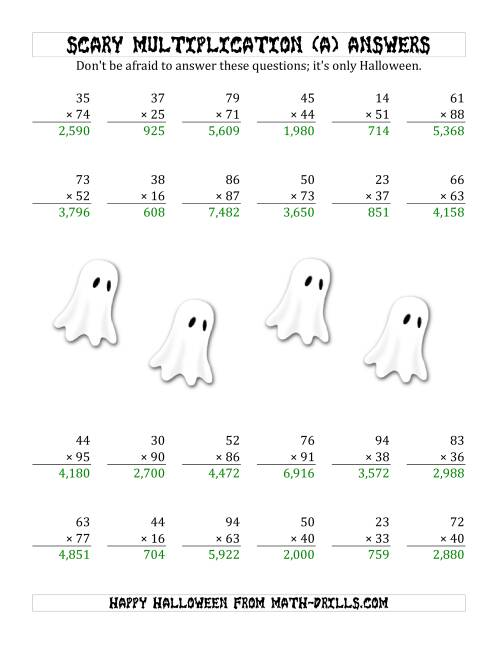 The Scary Multiplication (2-Digit by 2-Digit) (A) Math Worksheet Page 2
