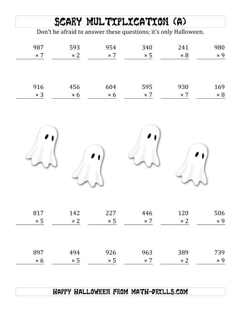 The Scary Multiplication (3-Digit by 1-Digit) (A) Math Worksheet
