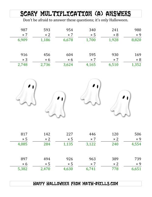 The Scary Multiplication (3-Digit by 1-Digit) (A) Math Worksheet Page 2