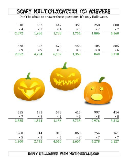 The Scary Multiplication (3-Digit by 1-Digit) (C) Math Worksheet Page 2