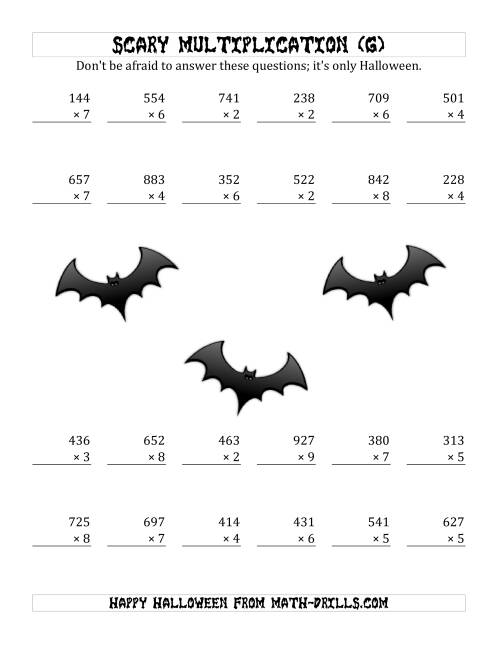 The Scary Multiplication (3-Digit by 1-Digit) (G) Math Worksheet