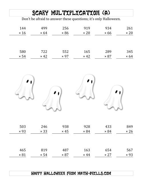The Scary Multiplication (3-Digit by 2-Digit) (A) Math Worksheet