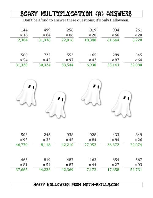 The Scary Multiplication (3-Digit by 2-Digit) (A) Math Worksheet Page 2