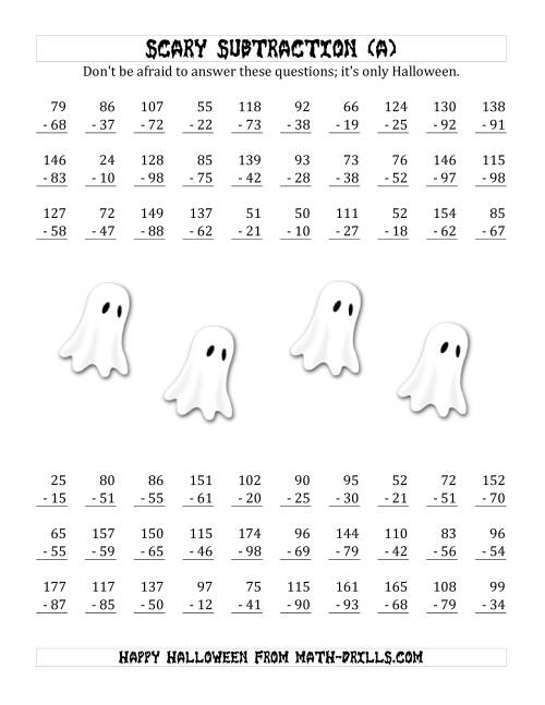 math worksheet : scary subtraction with double digit subtrahends and differences a  : Halloween Subtraction Worksheets