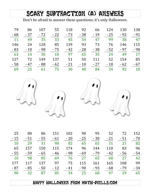 The Scary Subtraction with Double-Digit Subtrahends and Differences (A) Math Worksheet Page 2