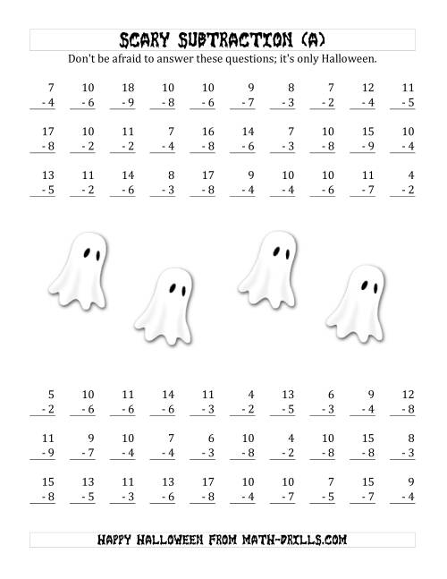 Scary Subtraction with Single-Digit Subtrahends and Differences (A ...