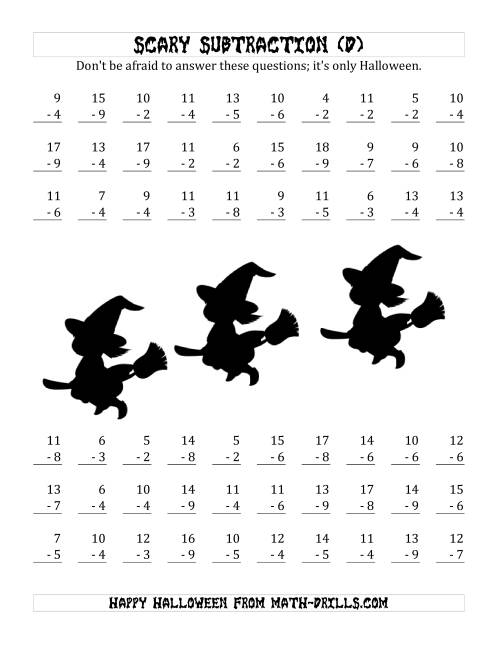 The Scary Subtraction with Single-Digit Subtrahends and Differences (D) Math Worksheet