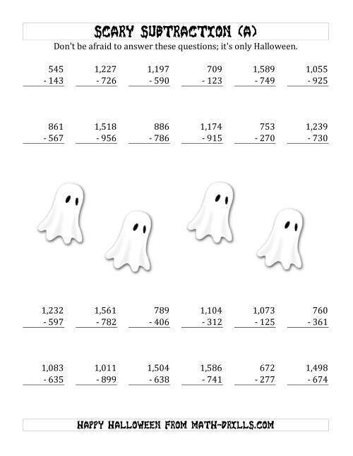 math worksheet : scary subtraction with triple digit subtrahends and differences a  : Halloween Subtraction Worksheets