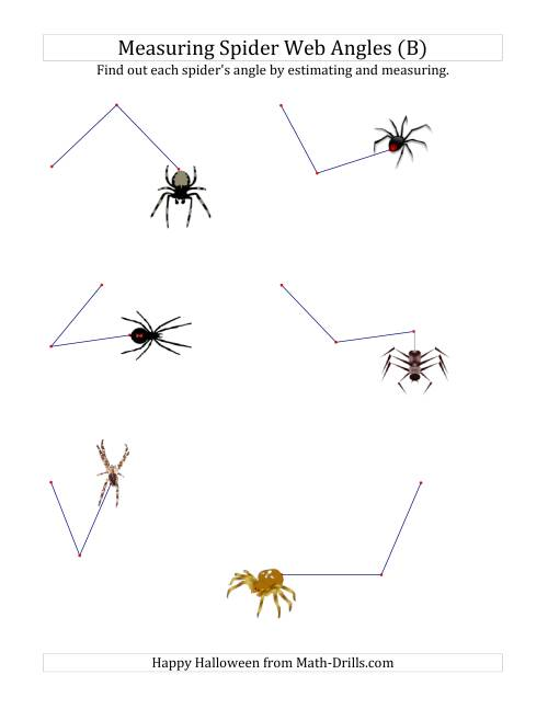 The Measuring Spider Web Angles (B) Math Worksheet