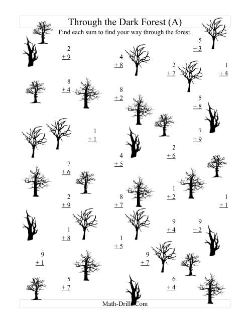 The Adding through the Dark Forest (One-Digit Addition) (A) Math Worksheet