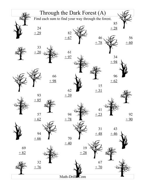 The Adding through the Dark Forest (Two-Digit Addition) (A) Halloween Math Worksheet