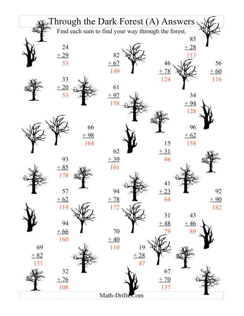 The Adding through the Dark Forest (Two-Digit Addition) (All) Math Worksheet Page 2