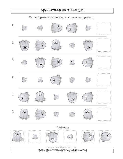 The Not-So-Scary Halloween Picture Patterns with Size and Rotation Attributes (J) Math Worksheet