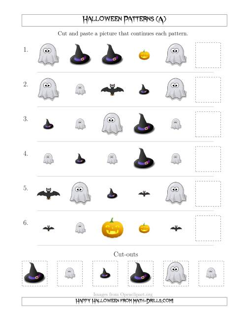 The Not-So-Scary Halloween Picture Patterns with Shape and Size Attributes (A) Math Worksheet