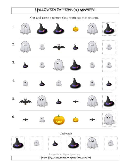 The Not-So-Scary Halloween Picture Patterns with Shape and Size Attributes (A) Math Worksheet Page 2