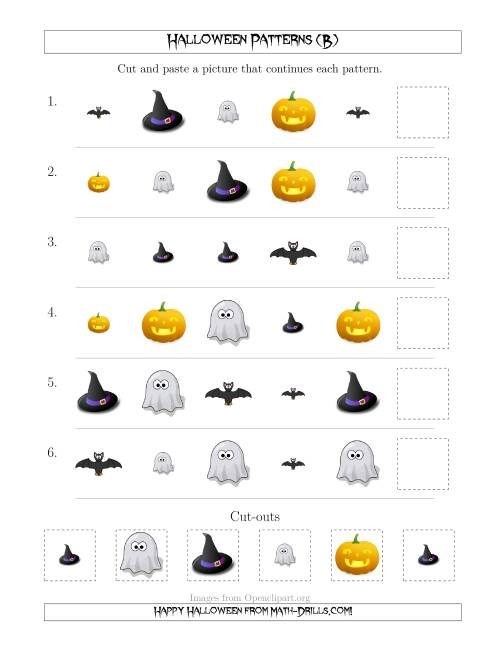 The Not-So-Scary Halloween Picture Patterns with Shape and Size Attributes (B) Math Worksheet