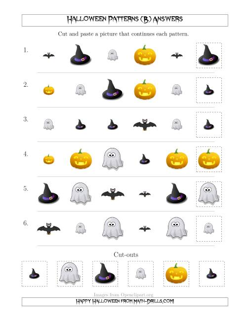 The Not-So-Scary Halloween Picture Patterns with Shape and Size Attributes (B) Math Worksheet Page 2
